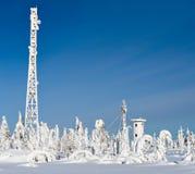 La ventisca del invierno nevó igualmente los árboles y las estructuras artificiales imagenes de archivo