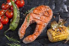 La verdura asó a la parrilla setas de las patatas del maíz de la paprika de la pimienta de los tomates Fotografía de archivo libre de regalías
