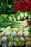 La verdura deja de lado en Carmel Market Fotos de archivo