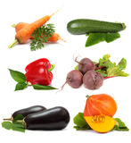 La verdura ha impostato su priorità bassa bianca Fotografia Stock