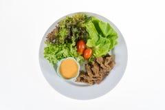 La verdura organica contiene l'iceberg di frillice, il butterhead, pomodoro, Fotografia Stock