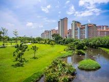 La verdure se garent avec la rivière dans un paysage de milieu urbain Images stock