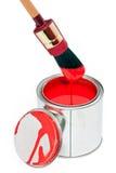 La vernice può con la spazzola della sgocciolatura isolata su bianco fotografie stock