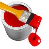La vernice può e pennello fotografia stock