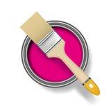 La vernice può con la spazzola Immagine Stock Libera da Diritti