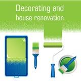 La verniciatura degli strumenti per pittura interna funziona - dipinga il vassoio, il rullo, la spazzola ed il barattolo di di pi illustrazione vettoriale