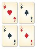 La versión del vector de la vendimia vieja aces tarjetas Fotografía de archivo