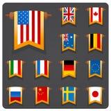 La vertical señala coutries por medio de una bandera principales Fotos de archivo libres de regalías
