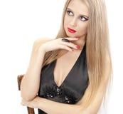 La verticale du beau femme avec les languettes rouges Photographie stock libre de droits
