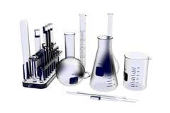 La vetreria per laboratorio 3D ha reso i raggi X blu Immagini Stock