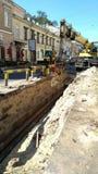 La via è chiusa, lavoro della riparazione è in corso Fotografie Stock Libere da Diritti