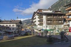 La via centrale di Mayrhofen Il Tirolo, Austria Fotografie Stock