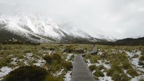 La via d'attaccatura Curvy protegge l'ecosistema della montagna alla pista della valle della puttana stock footage