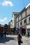 La via del castello, Norwich City concentra, la Norfolk, Inghilterra fotografia stock