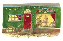 La via della città dell'acquerello con Natale luminoso montra Immagini Stock