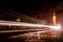 La via di bigben alla notte Fotografie Stock Libere da Diritti