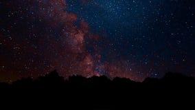 La Via Lattea compare da dietro gli alberi Timelapse della Via Lattea di bristlecone dello sciame meteorico di Perseid Animazione video d archivio