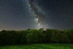 La Via Lattea sopra gli alberi Galassia della Via Lattea immagini stock