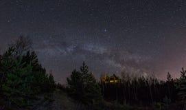 La Via Lattea sopra la foresta Immagini Stock Libere da Diritti