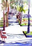 La via soleggiata, ombre dagli alberi, la gente cammina Illustrazione dell'acquerello Immagine Stock
