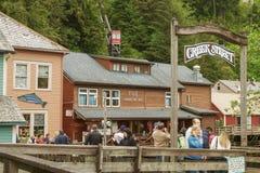 La via storica famosa Ketchikan Alaska dell'insenatura Fotografie Stock