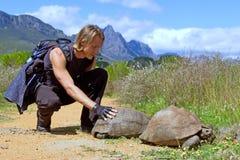 La viandante muscolare tocca la tartaruga Fotografie Stock Libere da Diritti