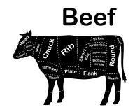 La viande coupe - le boeuf Diagrammes pour la boucherie Plan de boeuf Boeuf animal de silhouette Guide pour la coupure Vecteur illustration libre de droits