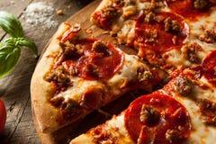 La viande faite maison aime la pizza Image stock
