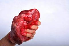 La viande a porté dedans une main Photographie stock libre de droits