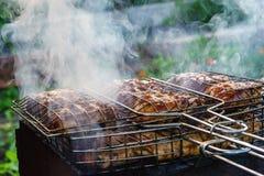 La viande sur le gril avec de la fumée, rôtie sur un feu ouvert Image libre de droits