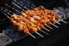 La viande sur les charbons et le barbecue Photos libres de droits