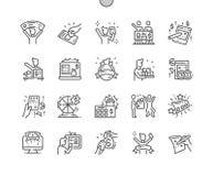 La victoire énorme de loterie Bien-a ouvré la ligne mince icônes de vecteur parfait de pixel illustration stock