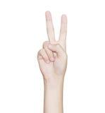 La victoire de geste de main a isolé le chemin de coupure blanc à l'intérieur Images stock