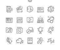 La vidéo audio Bien-a ouvré la ligne mince de vecteur parfait de pixel la grille 2x des icônes 30 pour des graphiques et Apps de  Photographie stock