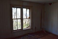La vid cubrió ventanas en una casa abandonada Imagenes de archivo