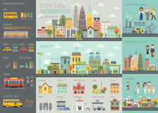 La vida de ciudad Infographic fijó con las cartas y otros elementos ilustración del vector
