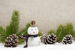 La vida de la Navidad todavía tiene los conos del pino y el muñeco de nieve Imágenes de archivo libres de regalías