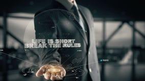 La vida es breve descanso las reglas con concepto del hombre de negocios del holograma libre illustration