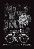 La vida es como montar un diseño de las camisetas del vector de la bicicleta Imagen de archivo