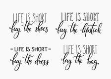 La vida es compra corta el lápiz labial del bolso del vestido de los zapatos ilustración del vector