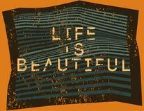 La vida es hermosa Líneas deformes fondo geométrico del extracto tipográfico del grunge Ilustración del vector Fotos de archivo
