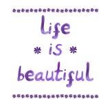 La vida es hermosa, las letras dibujadas mano del VECTOR, acuarela Fotografía de archivo