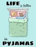 La vida es mejor en postal linda de los pijamas Ejemplo divertido del estilo cómico exhausto de la mano Muchacha que duerme en ca ilustración del vector
