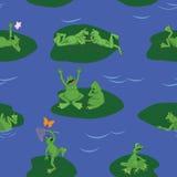 La vida es ranas divertidas en el lago azul Fotografía de archivo