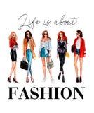 La vida está sobre diseño de la camiseta de la moda con las muchachas y las letras elegantes stock de ilustración