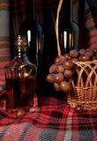 La vida inmóvil con las uvas y él están los productos Foto de archivo libre de regalías