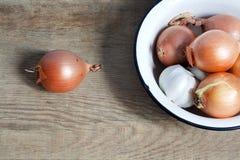Aún la vida pasada de moda con la cebolla y el ajo en esmalte ruedan encendido Imagen de archivo libre de regalías