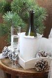 La vida todavía del Año Nuevo con champán Imagen de archivo libre de regalías