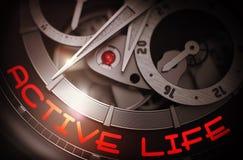 La vie active sur le mécanisme de montre-bracelet de vintage 3d Photographie stock libre de droits