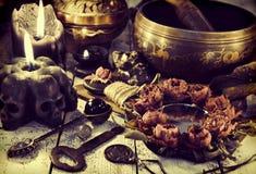 La vie avec la cuvette de chant en métal, bougie noire avec des crânes et miroir toujours avec les roses sèches photo libre de droits